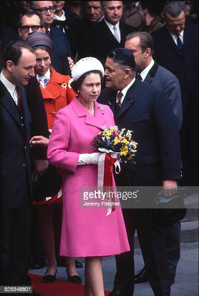The Queen and Princess Anne at the wedding of Princess Margriet of the Netherlands in The Hague Netherlands 10th January 1967