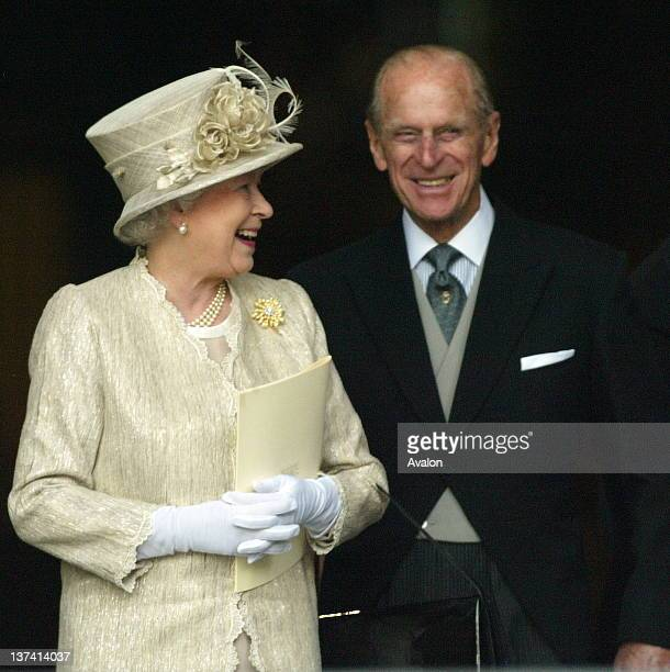 The Queen and the Duke Of Edinburgh leave a Service of Thanksgiving at St Paul's Cathedral London to mark her 80th birthday and his 85th birthday