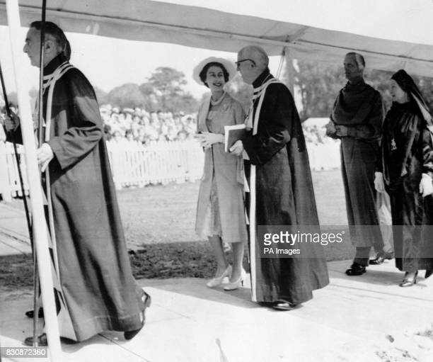 The Queen and the Duke of Edinburgh walk to the pavilion of the Royal National Eisteddfod of Wales at Sophia Gardens Field Cardiff The Duke was to be...
