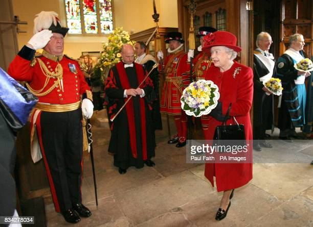 The Queen arrives at St Patrick's Cathedral in Armagh city Northern Ireland for the Traditional Maundy Service where she presented Maundy Money to 82...