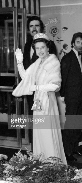 The Queen arriving at the Odeon Theatre Leicester Square for the Royal Film Performance She was to see Barbra Streisand and James Caan in the musical...