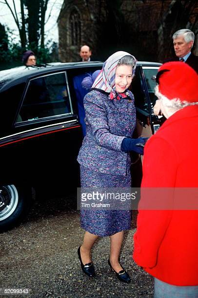 The Queen Arriving In Her Daimler Limousine Car For A Women's Institute Sale At Her Local Branch Of The Wi