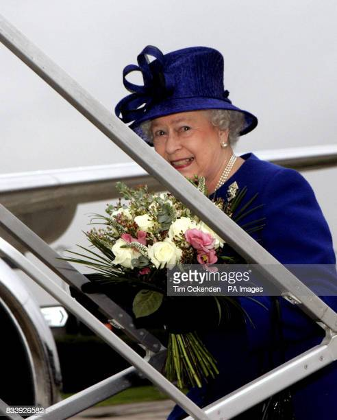 The Queen at Heathrow Airport to leave for Malta on her diamond wedding anniversary