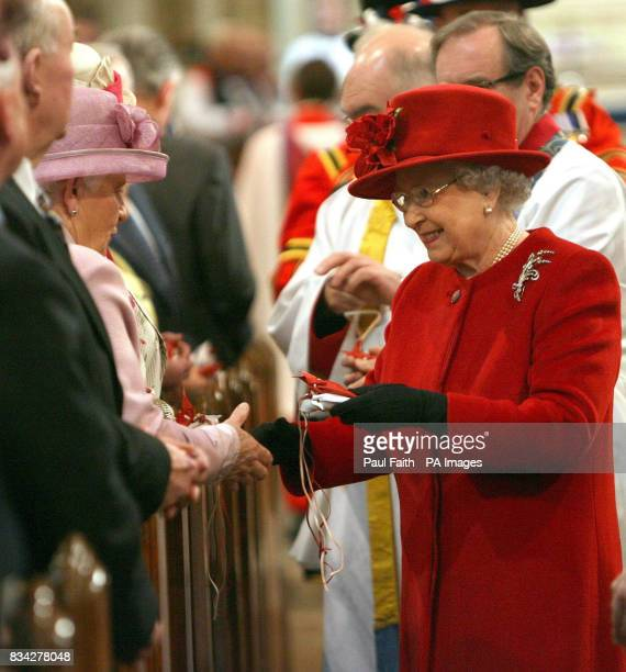 The Queen at St Patrick's Cathedral in Armagh city Northern Ireland for the Traditional Maundy Service where she presented Maundy Money to 82 men and...