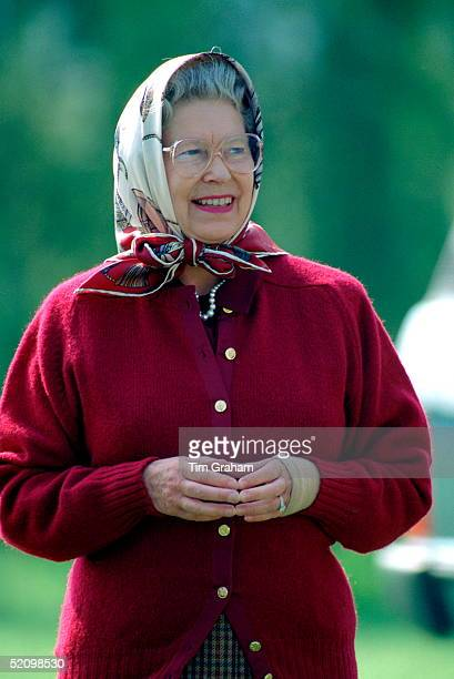 The Queen At The Windsor Horse Show Wearing A Bandage On Her Injured Wrist