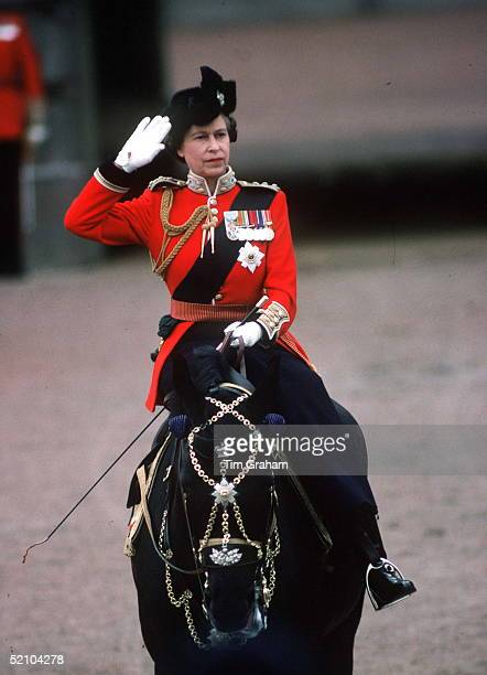 The Queen At Trooping The Colour Riding Her Horse Burmese Which Was A Gift From The Canadian Mounted Police