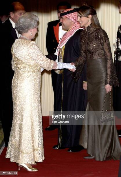 The Queen Being Greeted By Queen Rania Of Jordan On Her Arrival For A Banquet At Spencer House In London During The Jordanian State Visit