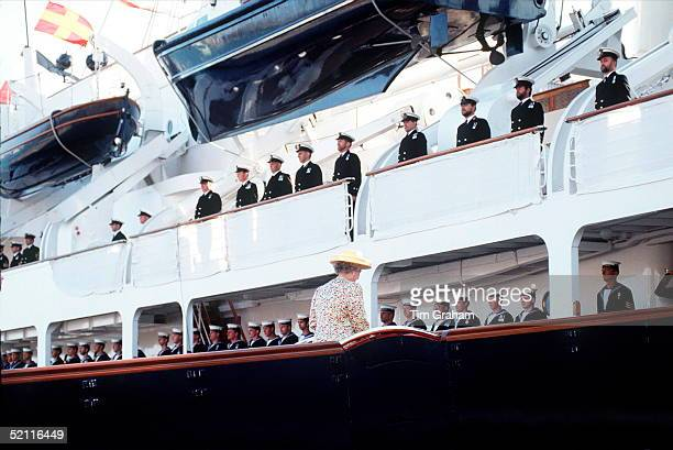 The Queen Boarding Hmy Royal Yacht Britannia For The Cruise Around The Western Isles