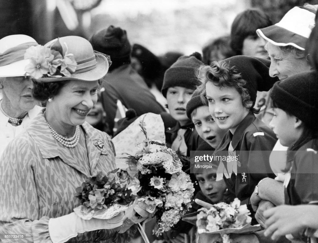 The Queen brings delight to the faces of Brownies who greeted her in Brecon ahead of her visit to the Royal Welsh Show, 21st July 1983.