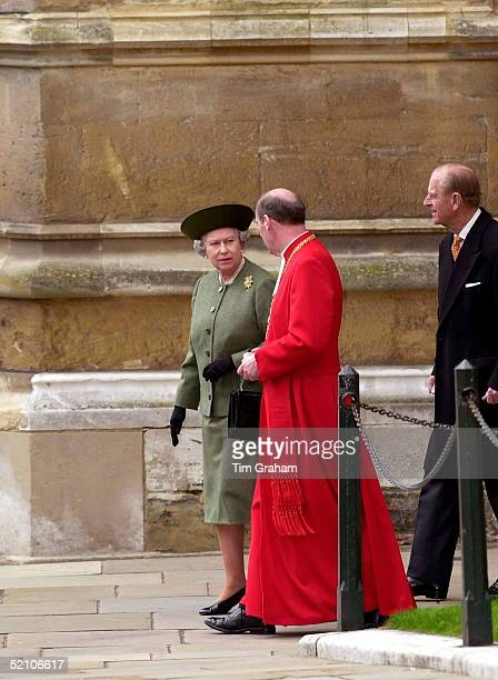 The Queen Chatting As She Leaves St George's Chapel After The Easter Service