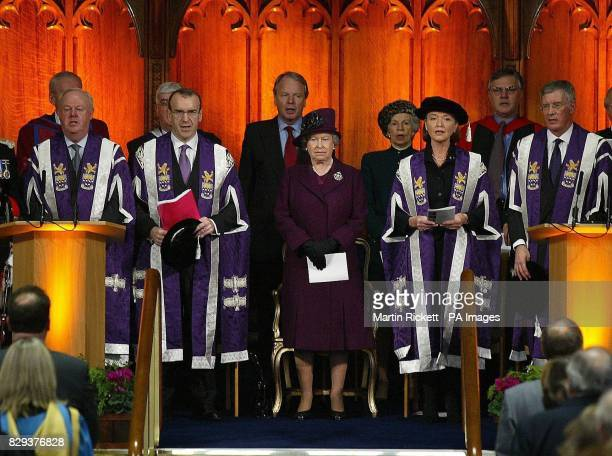 The Queen during a ceremony at Manchester University when the Queen presented the Co ChancellorAnna Ford with the Royal Charter for the formal...