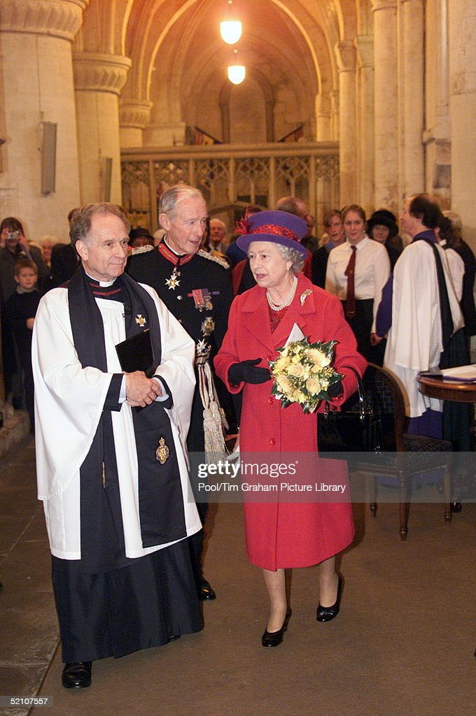 The Queen During Her Visit To Malmesbury Abbey Where She Attended A Service, Calne, Wiltshire.