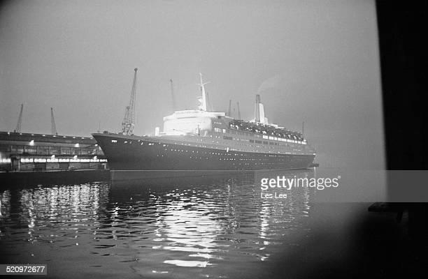 The Queen Elizabeth 2 ocean liner at night 1969