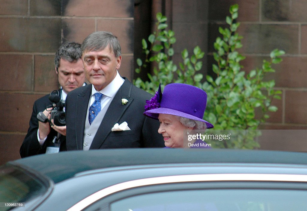 HM The Queen <a gi-track='captionPersonalityLinkClicked' href=/galleries/search?phrase=Elizabeth+II&family=editorial&specificpeople=67226 ng-click='$event.stopPropagation()'>Elizabeth II</a> and the Duke of Westminster at the wedding of Lady Tamara Katherine Grosvenor and Edward Bernard Charles van Cutsem at Chester Cathedral on Saturday November 6, 2004