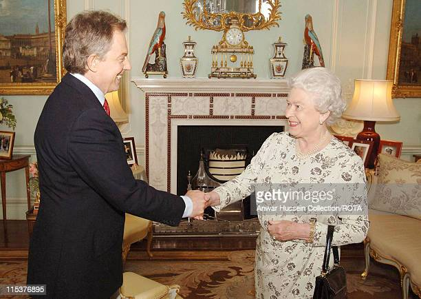 HM The Queen Elizabeth II receives Prime Minister Tony Blair Friday May 6 at Buckingham Palace after the Labour Party won a historic third term in...