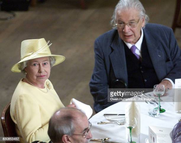 The Queen Elizabeth II sits down to lunch with Actor and Chancellor of Durham University Sir Peter Ustinov at at Durham Castle Durham on the second...