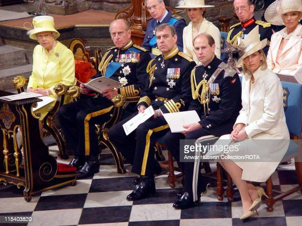 HM The Queen Elizabeth II the Duke of Edinburgh the Duke of York the Earl of Wessex and Sophie Countess of Wessex attend a National Service Of...