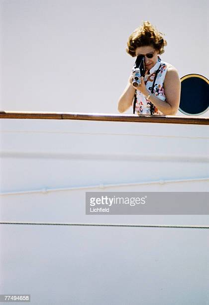 HM The Queen filming on board HMY Britannia in March 1972 Part of a series of photographs taken for use during the Silver Wedding Celebrations in 1972