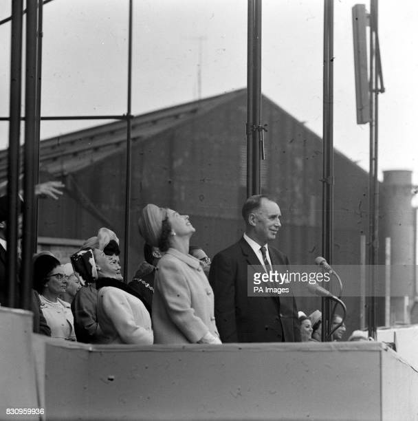 The Queen had just named the liner 'Queen Elizabeth II' which failed to move immediately after the launching ceremony at John Brown's Yard Clydebank...