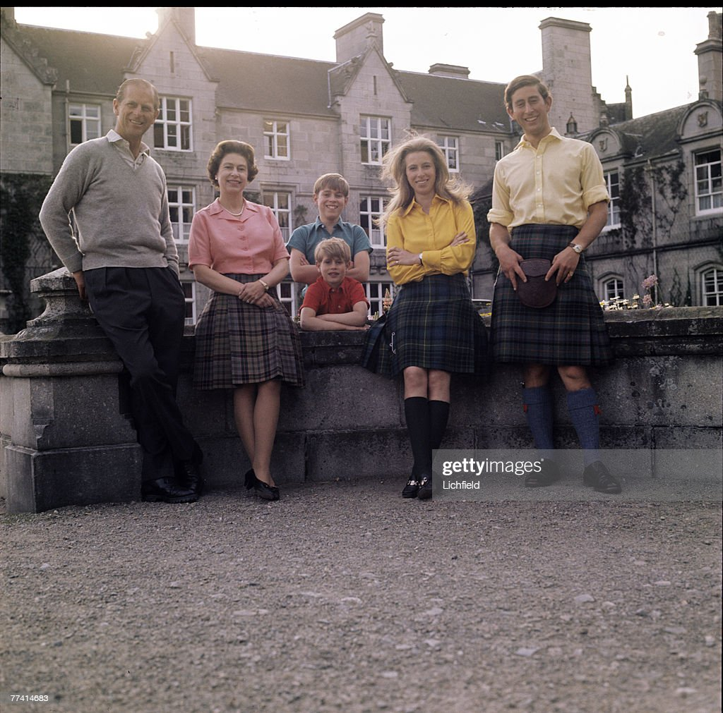 HM The Queen, HRH The Duke of Edinburgh, HRH The Prince of Wales, HRH The Prince Andrew, HRH The Prince Edward and HRH The Princess Anne in front of Balmoral Castle, Scotland during the Royal Family's annual summer holiday, 22nd August 1972. Part of a series of photographs taken for use during the Silver Wedding Celebrations in 1972. This image was used as a Christmas card. (Photo by Lichfield/Getty Images).