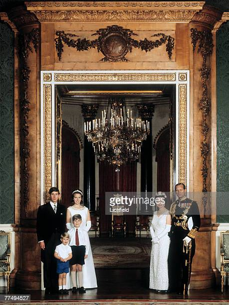 HM The Queen HRH The Duke of Edinburgh HRH The Prince of Wales HRH The Prince Andrew HRH The Prince Edward and HRH The Princess Anne at Buckingham...