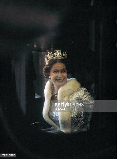 HM The Queen in her coach on her way to the Houses of Parliament for the State Opening of Parliament on 1st November 1971