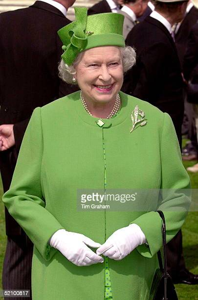 The Queen In The Gardens Of Buckingham Palace London Attending One Of Her Annual Garden Parties