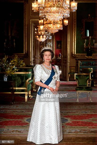 The Queen In The Green Room At Home In Windsor Castle