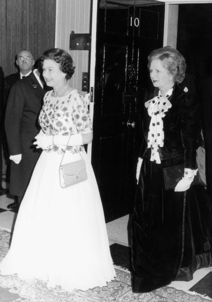 The Queen Is Met By Prime Minister Margaret Thatcher At Number 10 Downing Street For A