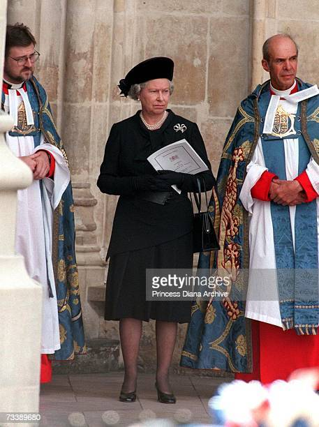 The Queen leaving Westminster Abbey after Princess Diana's funeral service 6th September 1997
