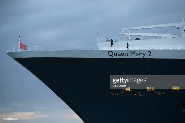The 'Queen Mary 2' ocean liner sails into dock alongside her sisters ships 'Queen Elizabeth' and 'Queen Victoria' to celebrate her 10th anniversary...