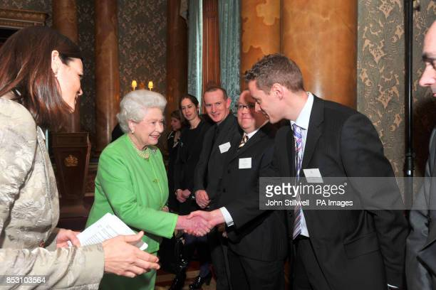 The Queen meets Mr Dave Jackson at the launch of the new British Monarchy website