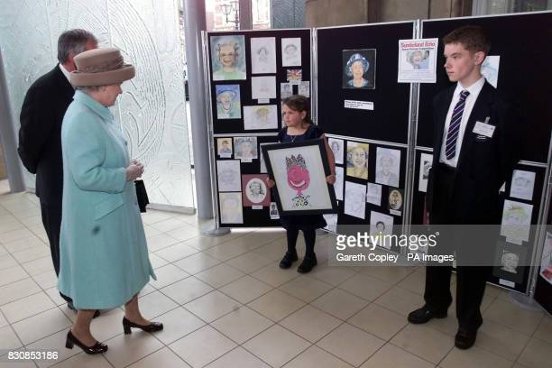 The Queen meets picture competition winners Emma Howlett and David Lowther at the Winter Gardens Sunderland The Queen arrived in Sunderland today on...