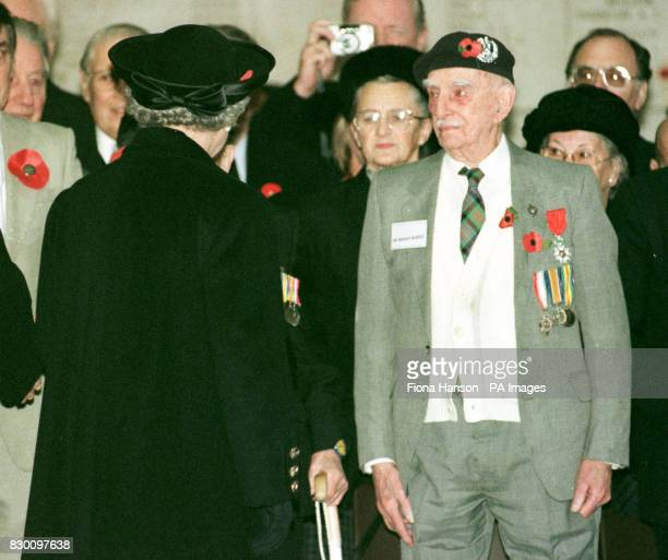 The Queen meets Scottish First World War veteran Robert Burns who will 103 tomorrow beneath the Menin Gate at Ypres Belgiumtoday during an Armistice...