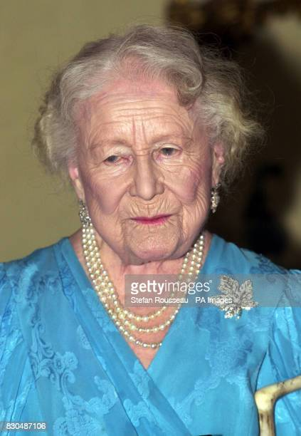 The Queen Mother after she received the insignia of the Order of Canada from Her Excellency the Right Honourable Adrienne Clarkson Governor General...