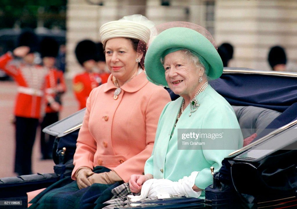 The Queen Mother And Princess Margaret At Trooping The Colour.