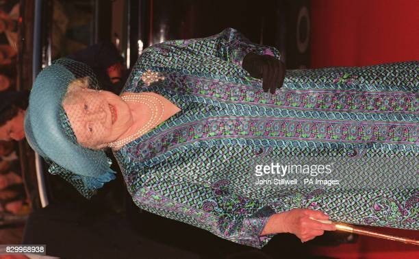The Queen Mother arrives at the Dominion Theatre in London this afternoon for a special gala Matinee of 'Disney's Beauty and the Beast' WPA ROTA...