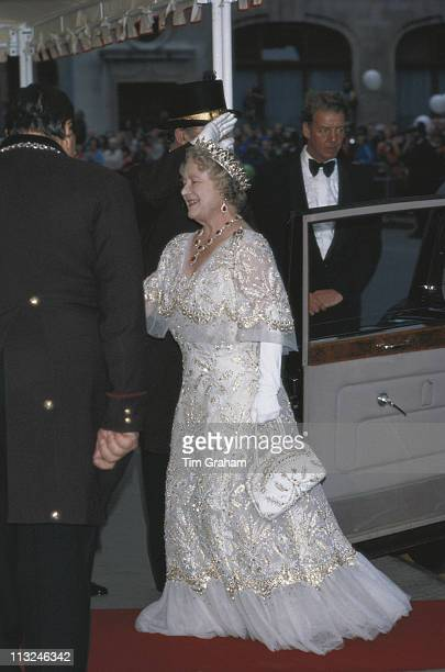 The Queen Mother arriving for her 80th birthday celebrations at the Royal Opera House in Covent Garden London England Great Britain 4 August 1980