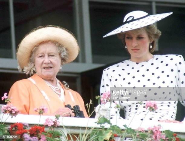 The Queen Mother At The Derby With Diana Princess Of Wales The Princess Is Wearing A Black And White Polka Dot Day Dress By Designer Victor Edelstein