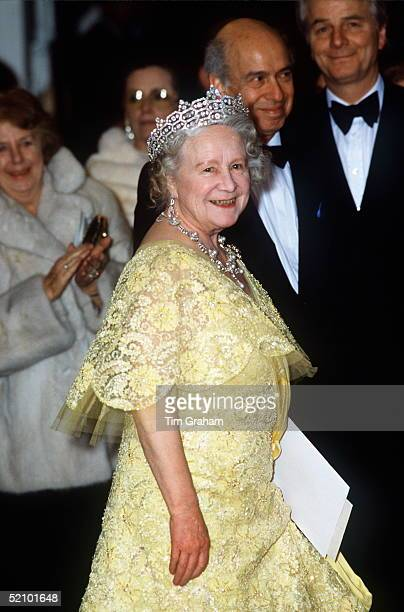 The Queen Mother At The Royal Opera House Attending A Special Performance Called ' Fanfare For Elizabeth' To Celebrate Her Daughter's 60th Birthday...