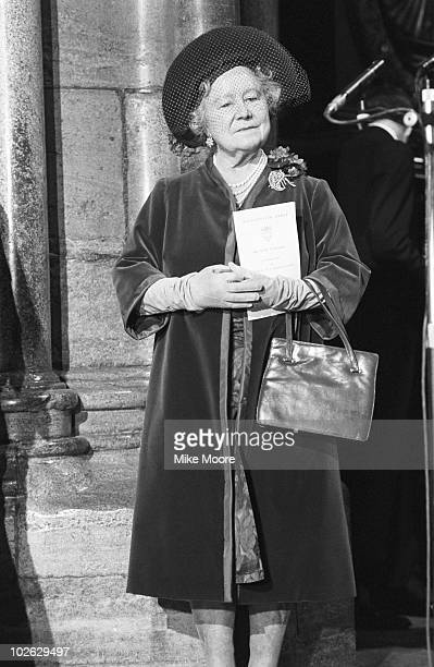 The Queen Mother at Westminster Abbey in London England to unveil a memorial stone to actor and playwright Noel Coward in Poet's Corner on March 28...