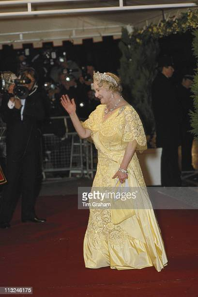 The Queen Mother attending a special performance called ' Fanfare For Elizabeth' staged to celebrate the 60th birthday of her daughter Queen...