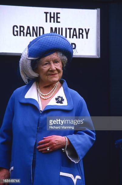 The Queen Mother attends the Grand Military Gold Cup Held annually at Sandown Park Racecourse in Esher Surrey it is a meeting point for the Military...