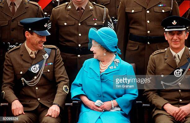 The Queen Mother Colonelinchief Light Infantry Visiting The Regiment At The St John Moore Barracks The Queen Mother Is Sitting Chatting To One Of The...