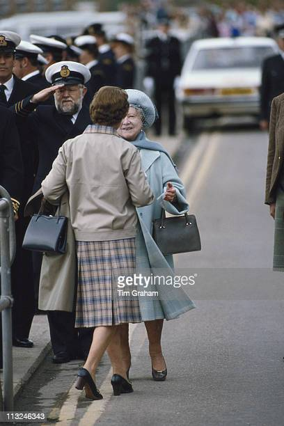 The Queen Mother greeting her daughter Queen Elizabeth II at the Castle of Mey on the north coast of Scotland Great Britain 14 August 1985