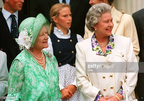 The Queen Mother is joined by her eldest daughter Queen Elizabeth II outside Clarence House 04 August 1993 on her 93rd birthday The Queen Mother is...