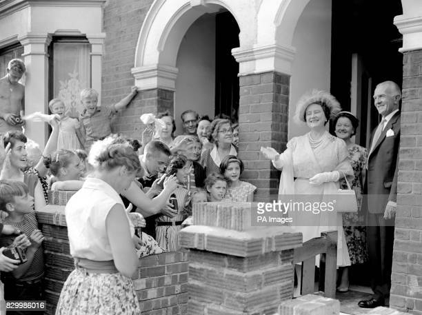 The Queen Mother on the steps of 174 Villiers Road Willesden London where she visited its garden and many others in the Marylebone and Willesden...