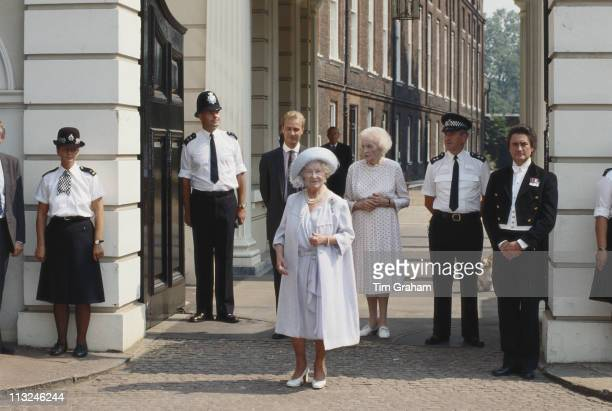 The Queen Mother outside Clarence House on the occasion of her 90th birthday London England Great Britain 4 August 1990 Ruth Lady Fermoy friend of...