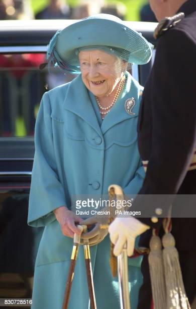 The Queen Mother pictured as she and her grandson Prince Charles known as the Duke of Rothesay in Scotland unveiled an Aberdeen Angus sculpture at...
