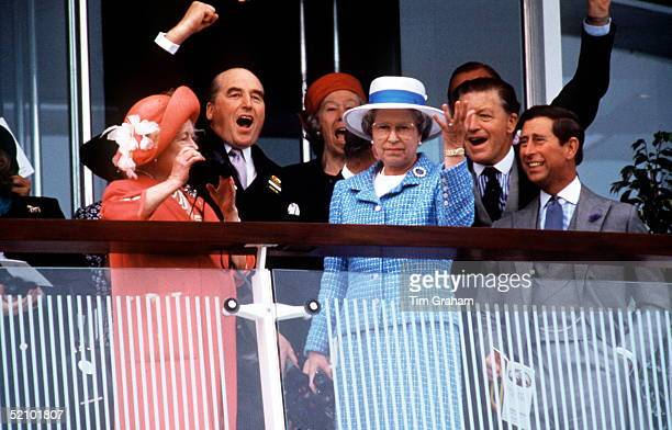 The Queen Mother Prince Charles And The Queen At The Derby With Them Are The Queen's Racing Manager Earl Of Carnarvon At Left In Dark Morning Suit...